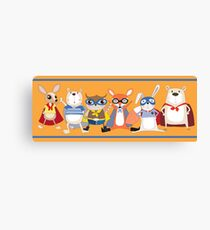 Cute Funny Super Heroes Animals Canvas Print