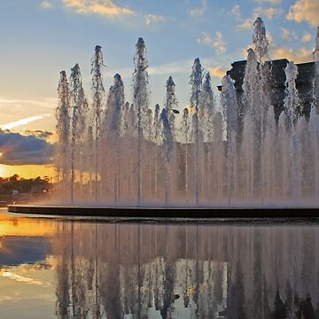 Henry Bloch Fountain Sunset by BackRoadsPhotog