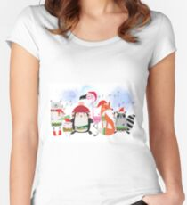 Silly Cartoon Animals Christmas Holiday Women's Fitted Scoop T-Shirt