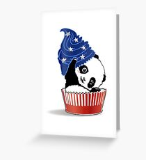 Panda America Cupcake  Greeting Card