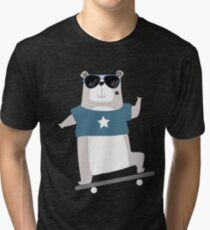 Cute Cartoon Animals Skateboarding Bear Tri-blend T-Shirt