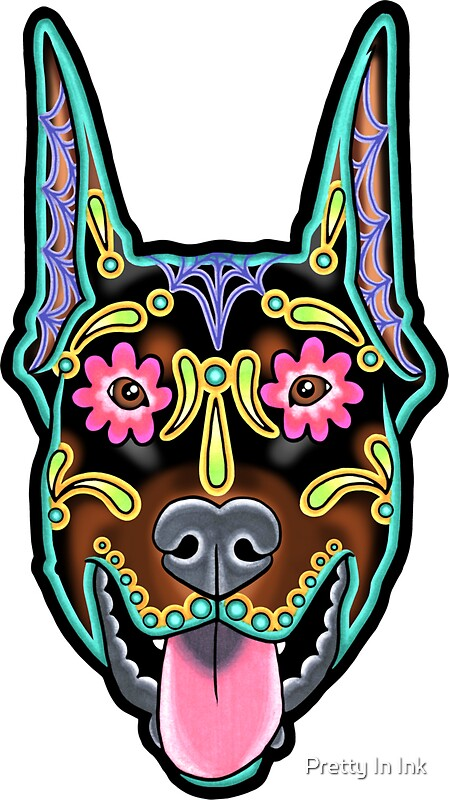 Doberman cropped ear edition day of the dead sugar skull dog by prettyinink