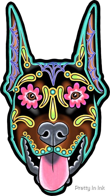 Doberman cropped ear edition day of the dead sugar skull dog by prettyinink