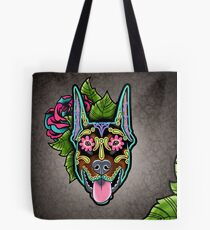 Doberman - Cropped Ear Edition - Day of the Dead Sugar Skull Dog Tote Bag