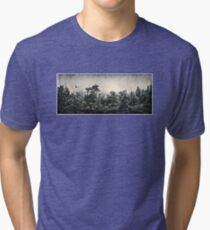 Soaring Eagle above Mystic Forest Tri-blend T-Shirt