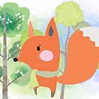 Cute Cartoon Animals Red Fox in Forest by peacockcards