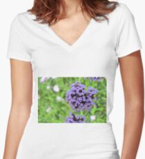 Macro on purple spring flowers. Women's Fitted V-Neck T-Shirt