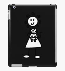 The Girl with the Curly Hair Holding Cat - Dark Grey iPad Case/Skin