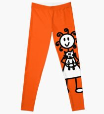 The Girl with the Curly Hair Holding Cat - Orange Leggings