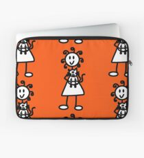 The Girl with the Curly Hair Holding Cat - Orange Laptop Sleeve