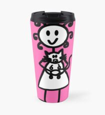 The Girl with the Curly Hair Holding Cat - Pink Travel Mug