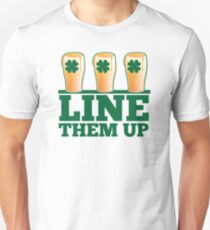 Line them up 3 beers lined up IRISH shamrock beers Unisex T-Shirt