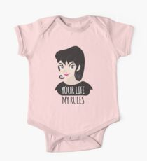 YOUR LIFE MY RULES awesome punk chick with black hair Kids Clothes