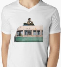 """""""Happiness is only real when shared"""" Men's V-Neck T-Shirt"""