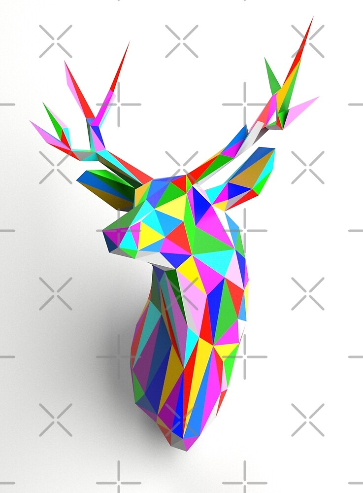 Coloured Faceted Stag Trophy Head by dotsan