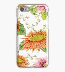 Seamless pattern with watercolor gerbera flower.  iPhone Case/Skin