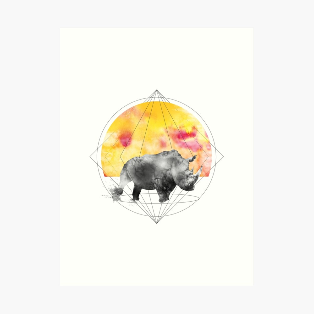 sunset rhino Art Print