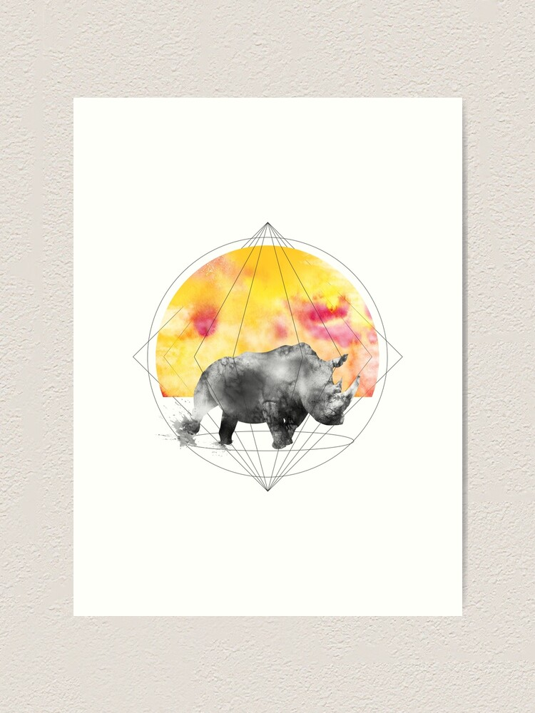 Alternate view of sunset rhino Art Print