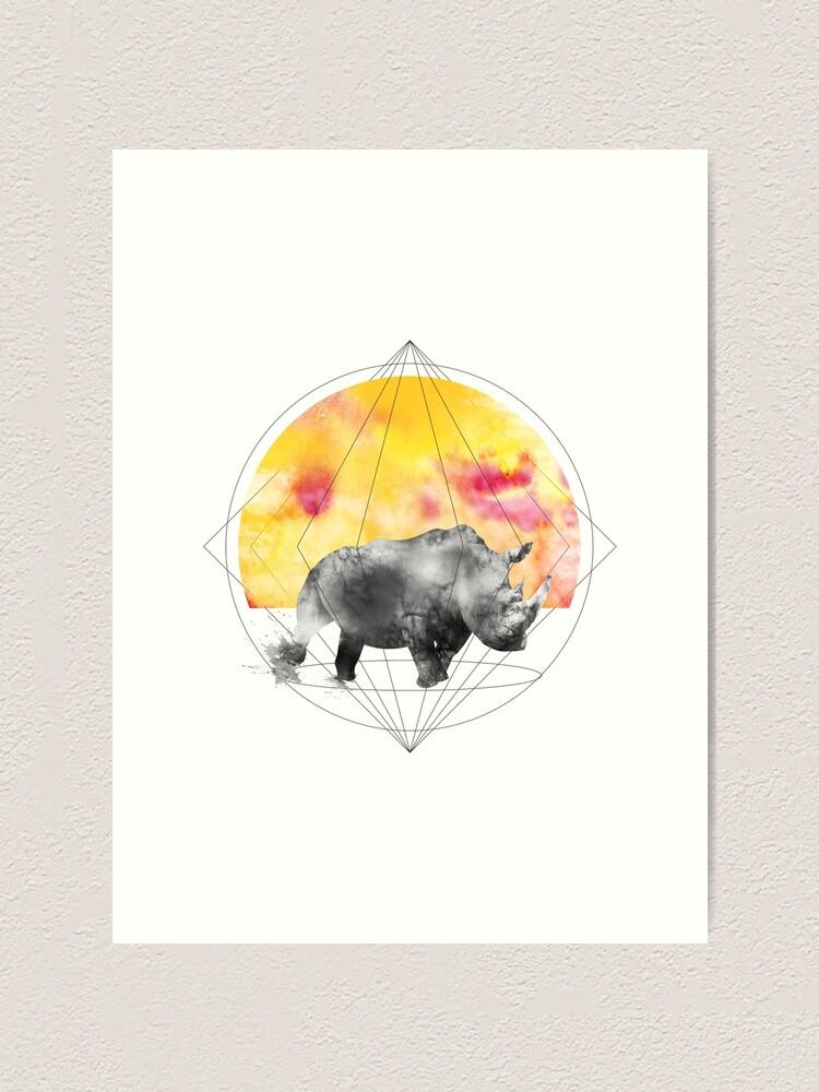 Alternate view of sunset rhino Art Print
