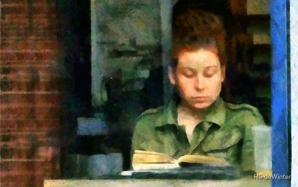 Redhead Reading a Book by RC deWinter