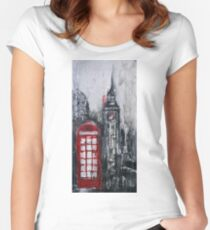 London Red Phone Box Women's Fitted Scoop T-Shirt