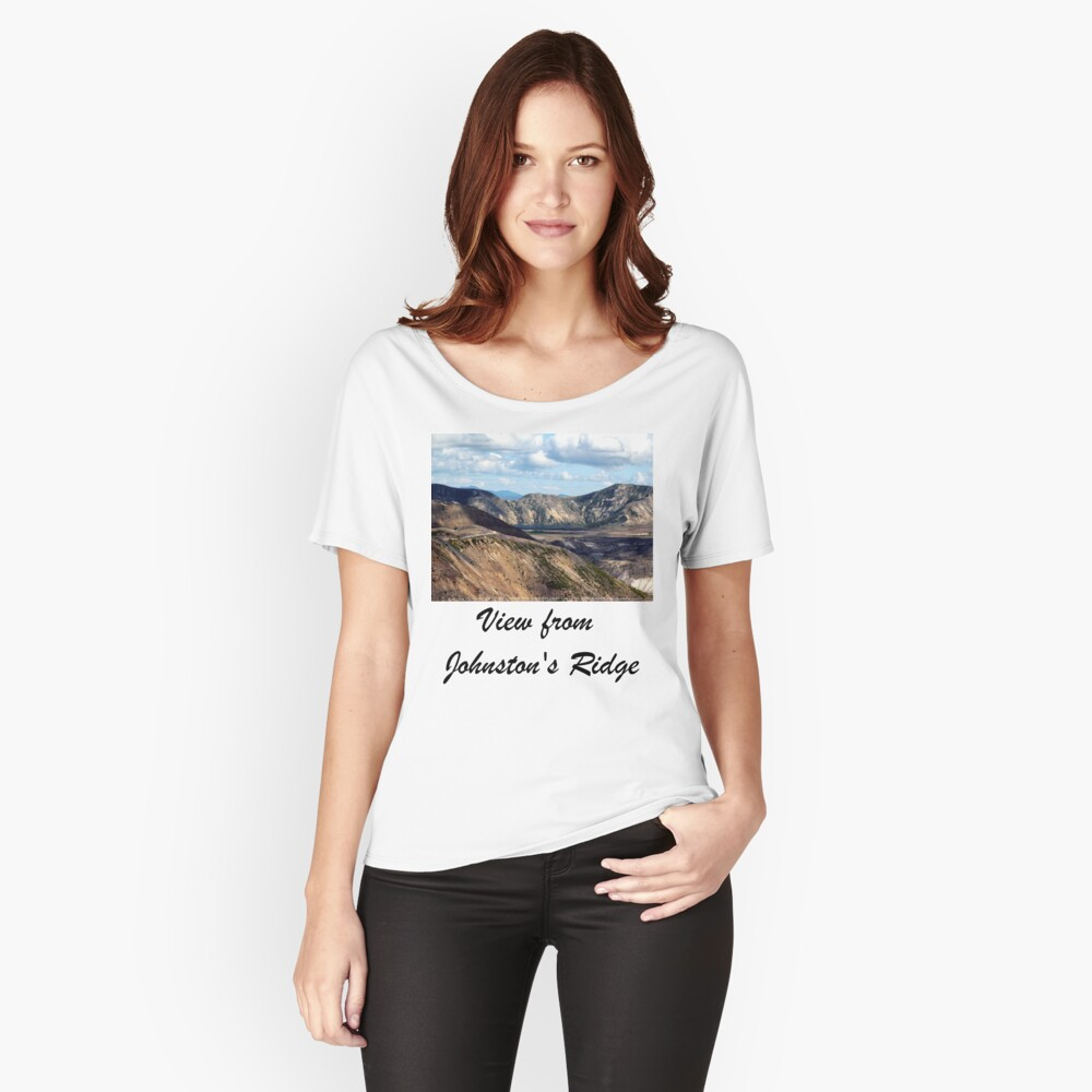 Lake and mountain view near Johnston's Ridge Women's Relaxed Fit T-Shirt Front