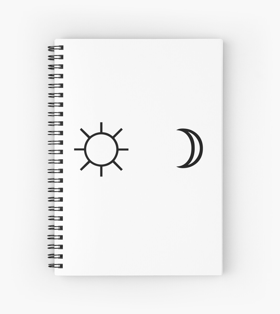 Sun and moon minimalist aesthetic black and white tumblr design spiral notebook