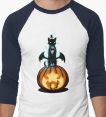 Halloween Cat and Pumpkin Men's Baseball ¾ T-Shirt