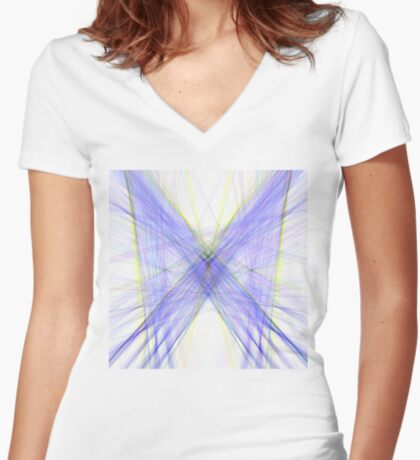 Violet Butterfly Fitted V-Neck T-Shirt