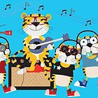 Cartoon Animals Tigers Rock Band Musical by peacockcards