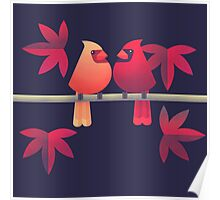 Northern cardinals on a Japanese maple tree Poster