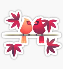 Northern cardinals on a Japanese maple tree Sticker