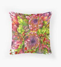 Berries & Proteas Throw Pillow