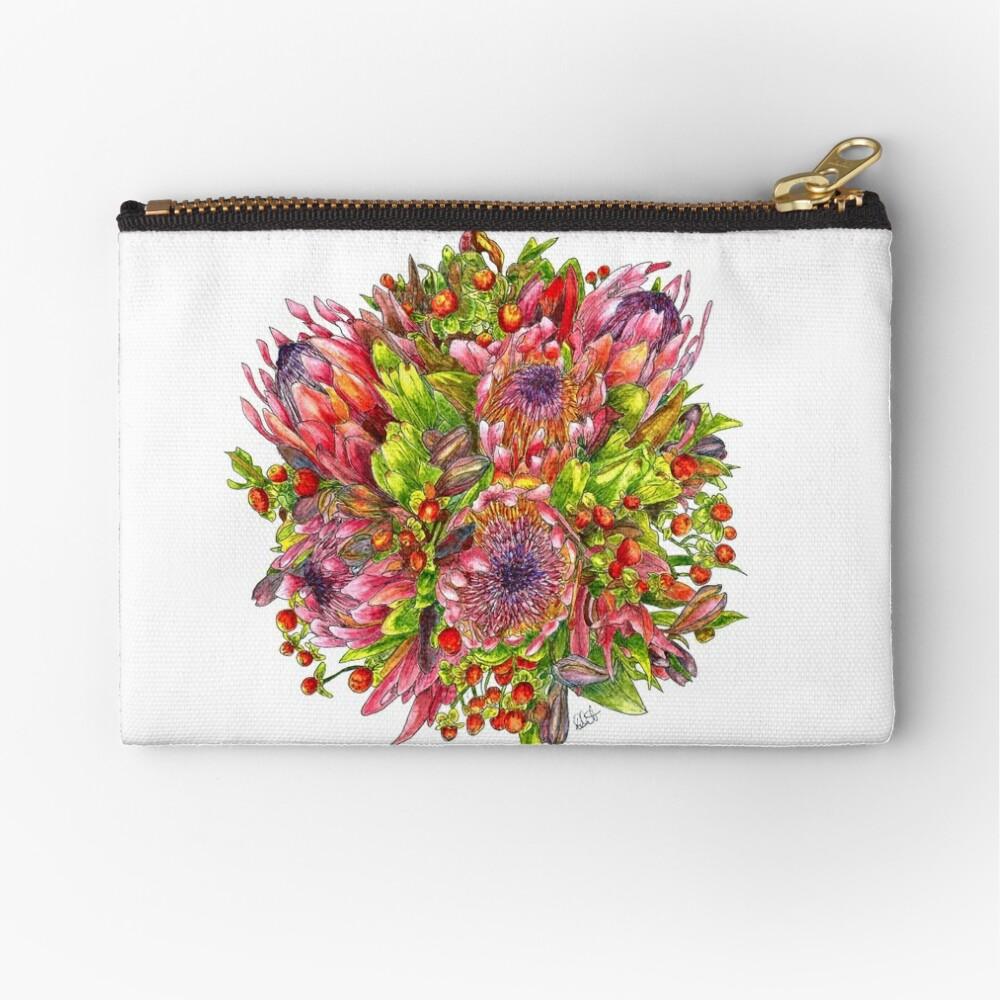 Berries & Proteas Zipper Pouch