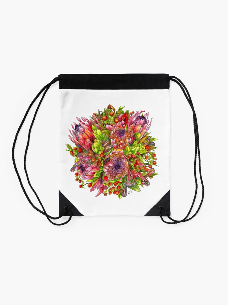Alternate view of Berries & Proteas Drawstring Bag