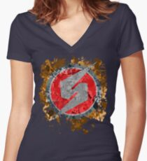 Metroid Symbol Splatter Women's Fitted V-Neck T-Shirt