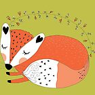 Wild Forest Animals Sleeping Red Fox by peacockcards
