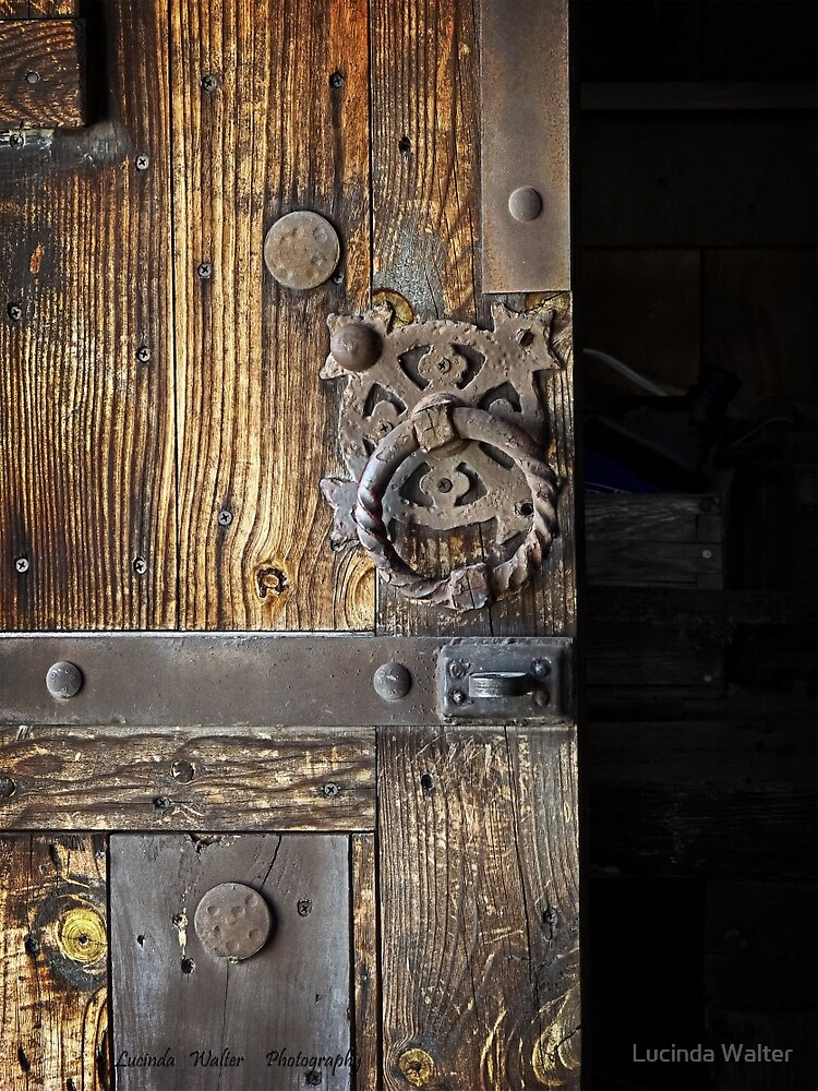 Wood Door ~ Metal Hardware by Lucinda Walter