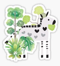 Animals Cartoon Zebra in Jungle Sticker