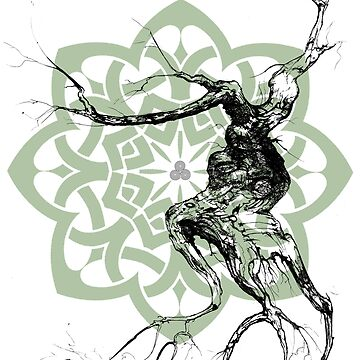 Celtic world tree ink drawing by scottallison