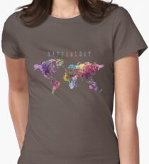 Wanderlust World Map Watercolor Womens Fitted T-Shirt
