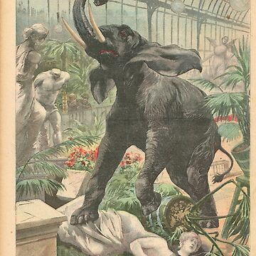 Elephant rampage Crystal Palace London 1900 by artfromthepast