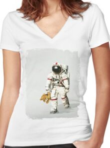 Space can be lonely Women's Fitted V-Neck T-Shirt