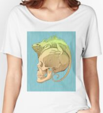 colorful illustration with iguana and skull Women's Relaxed Fit T-Shirt