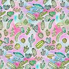 Cute Girly Watercolor Paint Summer Cactus Pattern  by Blkstrawberry