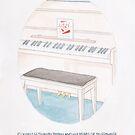 Haruki Murakami's Colorless Tsukuru Tazaki and His Years of Pilgrimage // Novel Illustration of a Piano with Liszt Book in Pencil & Watercolour by arosecast