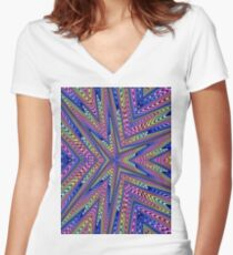 6 Point Abstract Women's Fitted V-Neck T-Shirt