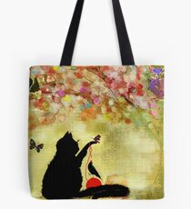 The Owl Watches Kitty at Play  Tote Bag