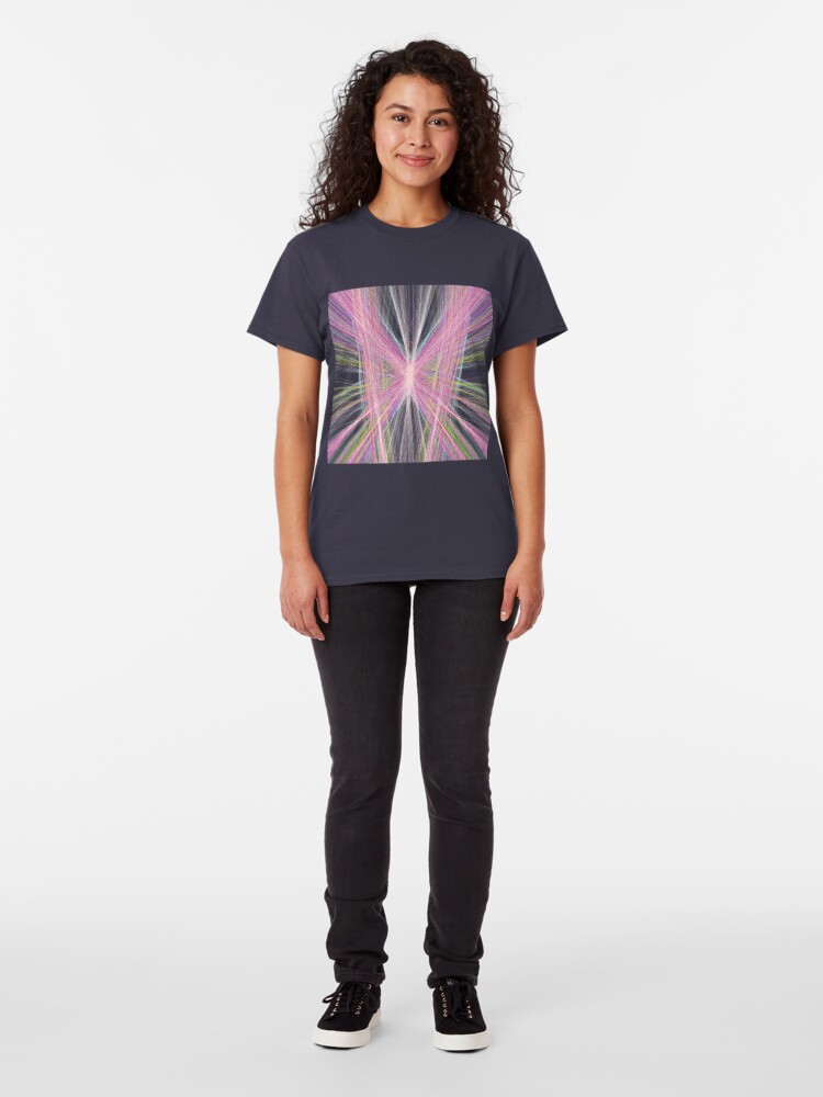 Alternate view of Linify Pink butterfly on dark background Classic T-Shirt