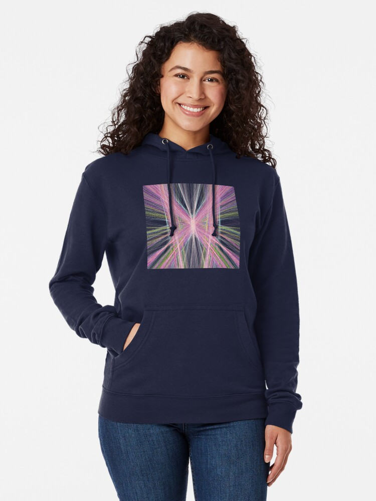 Alternate view of Linify Pink butterfly on dark background Lightweight Hoodie